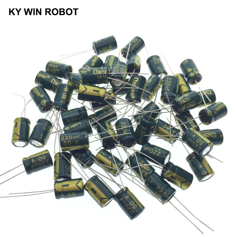 50pcs/lot Aluminum Electrolytic Capacitor 50V / 220 UF 50V/220UF Electrolytic Capacitor Size 8*12 Mm Plug-in 50V 220UF