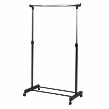 COSTWAY Adjustable Rolling Clothes Hanger Coat Rack Floor Hanger Storage Wardrobe Clothing Drying Racks With Shoe Rack HW53829 double deck hanger clothing display rack floor type store hanger iron art island rack clothing gantry rack