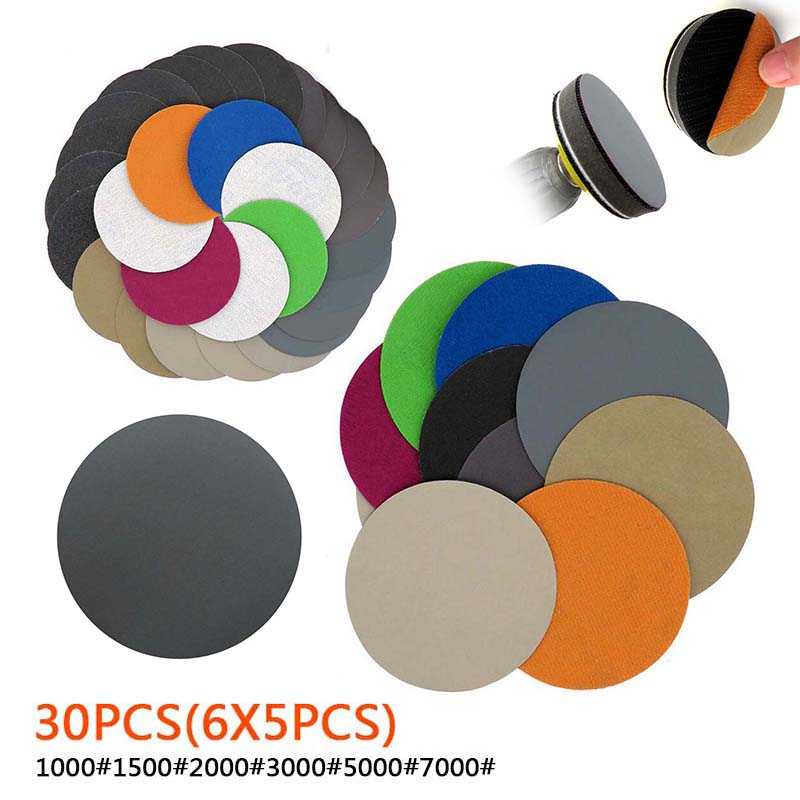 30pcs 75mm/3 Inch 1000 Grit-7000 Grit Polishing Pad Dry Water Sanding Disc Hook Loop Round Sandpaper Sand Sheet