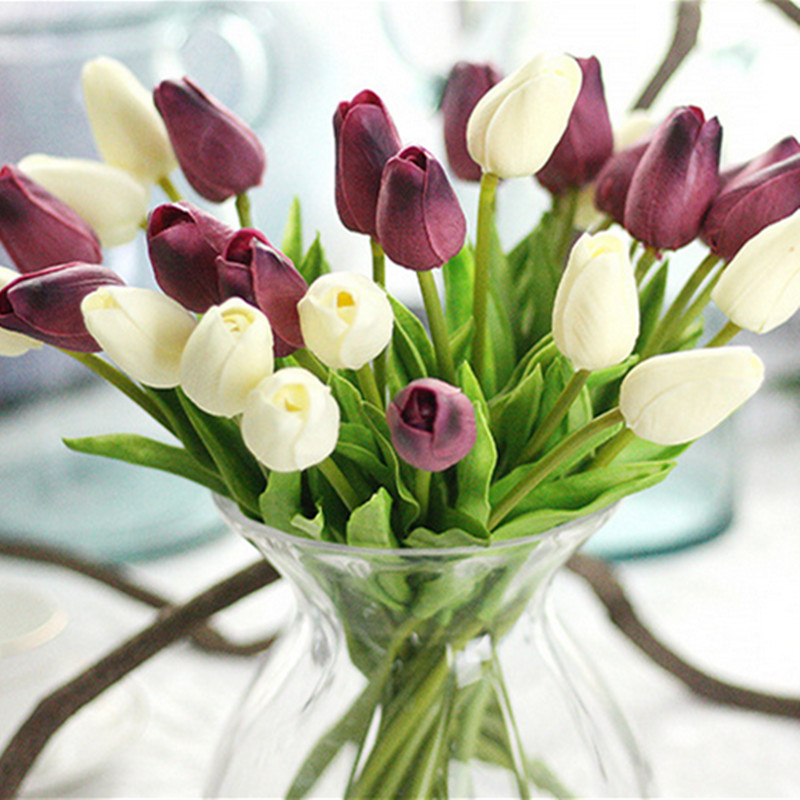 1PC PU Mini Tulips Artificial Flowers For Home And Wedding Decoration Flowers 6