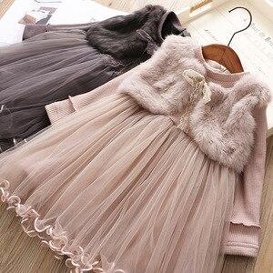 Girls Dress Fur Warm Winter Christmas Autumn Dresses For Kids Girl Clothes 5 6 years Children Birthday Princess Tutu Costumes(China)