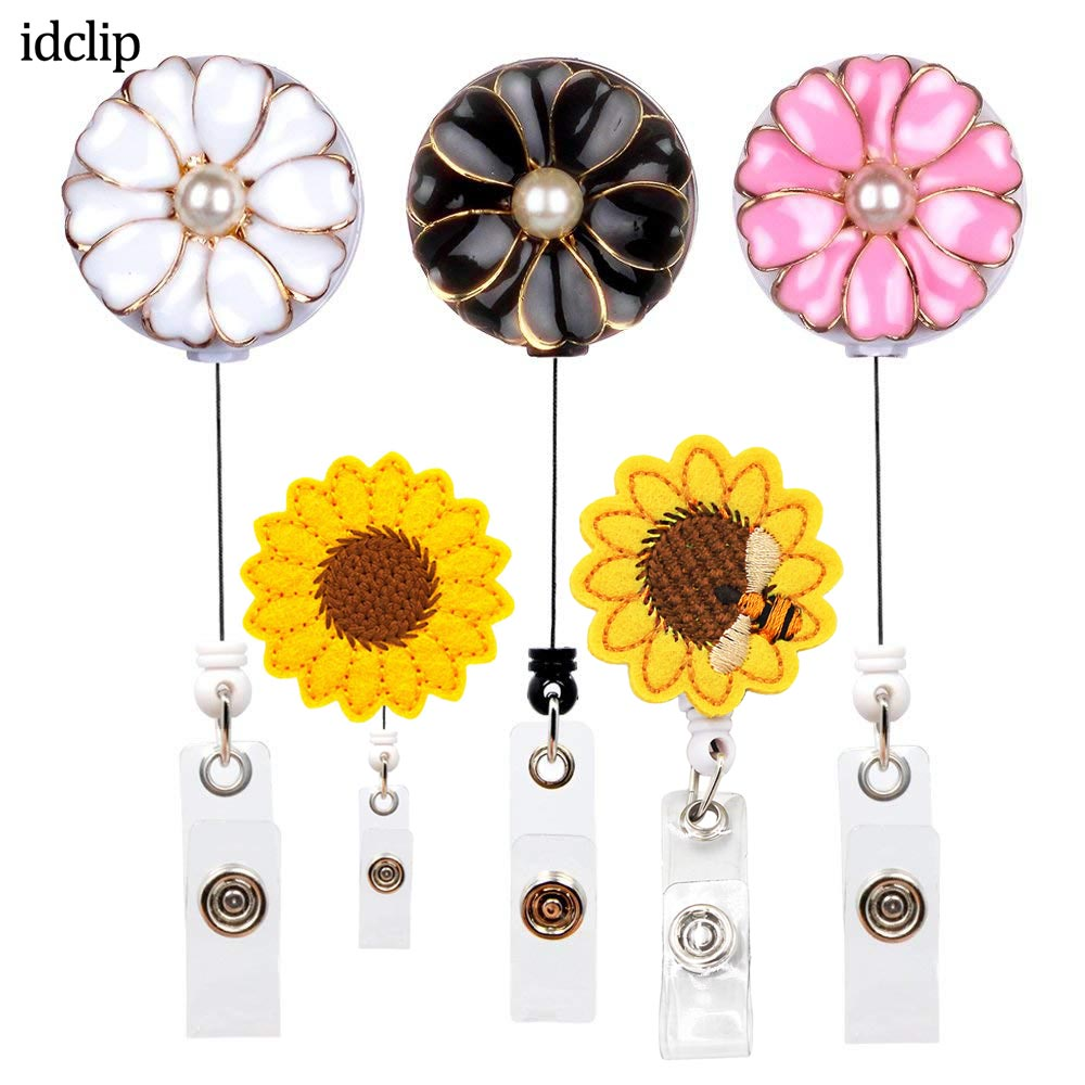 Idclip 1PC ID Retractable Badge Holder With Alligator Clip Flower Retractable Cord ID Badge Reel With Pearl 24 Inch