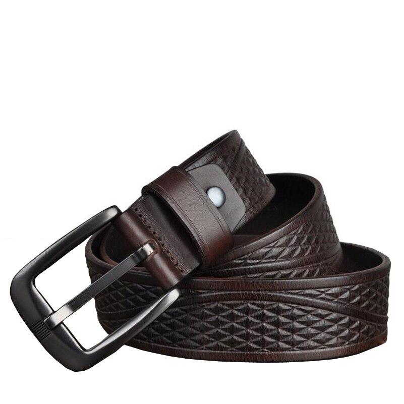 Image 4 - Western Genuine Leather Print Business Pin Buckle Men Belt Vintage Cow Leather Jeans Causal Pants Men BeltMens Belts   -