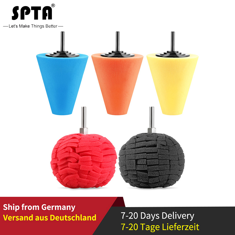 SPTA Auto Wheel Polishing Sponge Used For Electric Drill 3inch/ 4inch Burnishing Ball Polishing Cone Car Hub Buffing Sponge