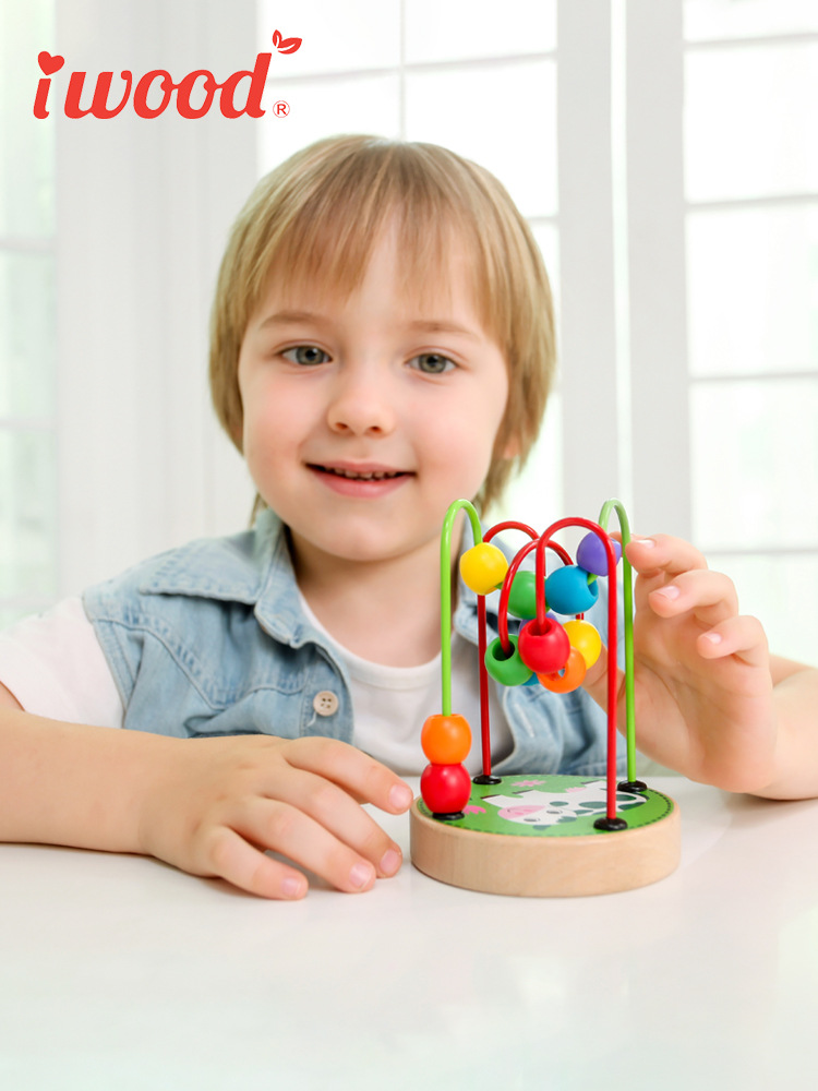 Bead-stringing Toy Beaded Bracelet Wisdom Educational Toy Wooden Multi-functional Children Bead Rack Baby 1-2 A Year Of Age