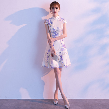Sexy White Evening Party Dress Female Chinese Traditional Qipao Elegant A-line Cheongsam Exquisitie Embroidery Flower Vestidos