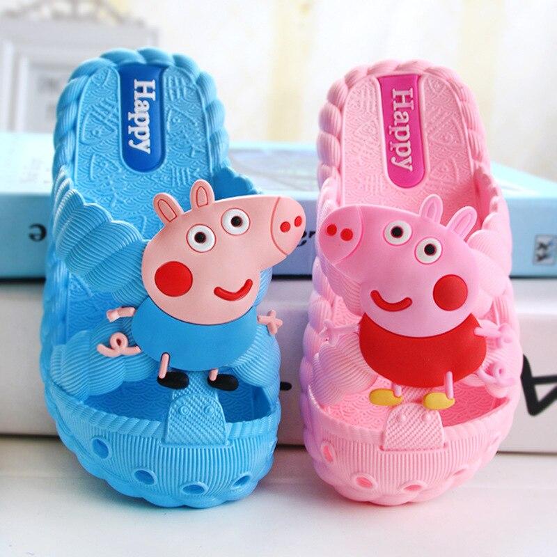 3-8 ans Peppa Pig enfants pantoufles dessin animé Figure George mignon antidérapant fond souple en caoutchouc chaussures enfant anniversaire jouets cadeau