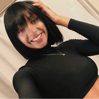 Short Human Hair Wigs Bob Wig Human Hair Wigs With Bangs For Black Women Remy Brazilian Short Bob Straight Wig FAVE Hair