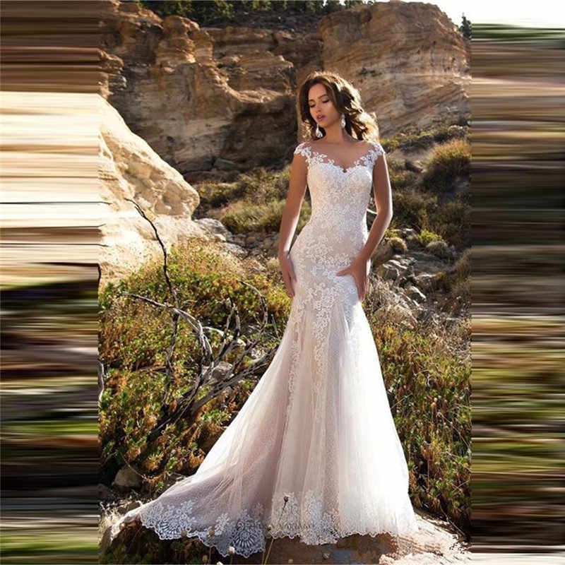 White//Ivory Lace Tulle Mermaid Wedding Dress Corset Custom Sizes New Bridal Gown