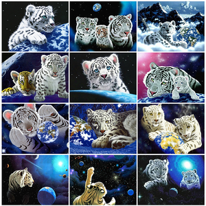 HUACAN 5D DIY Diamond Painting Full Square Tiger Map Diamond Art Mosaic Animal Home Decoration New Arrival