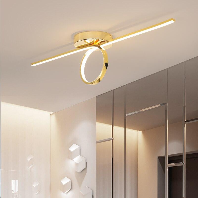 Złoto/chromowane stylowe nowoczesne lampy sufitowe led do korytarza Foyer sypialnia jadalnia sufit pokoju lampy AC110-220V