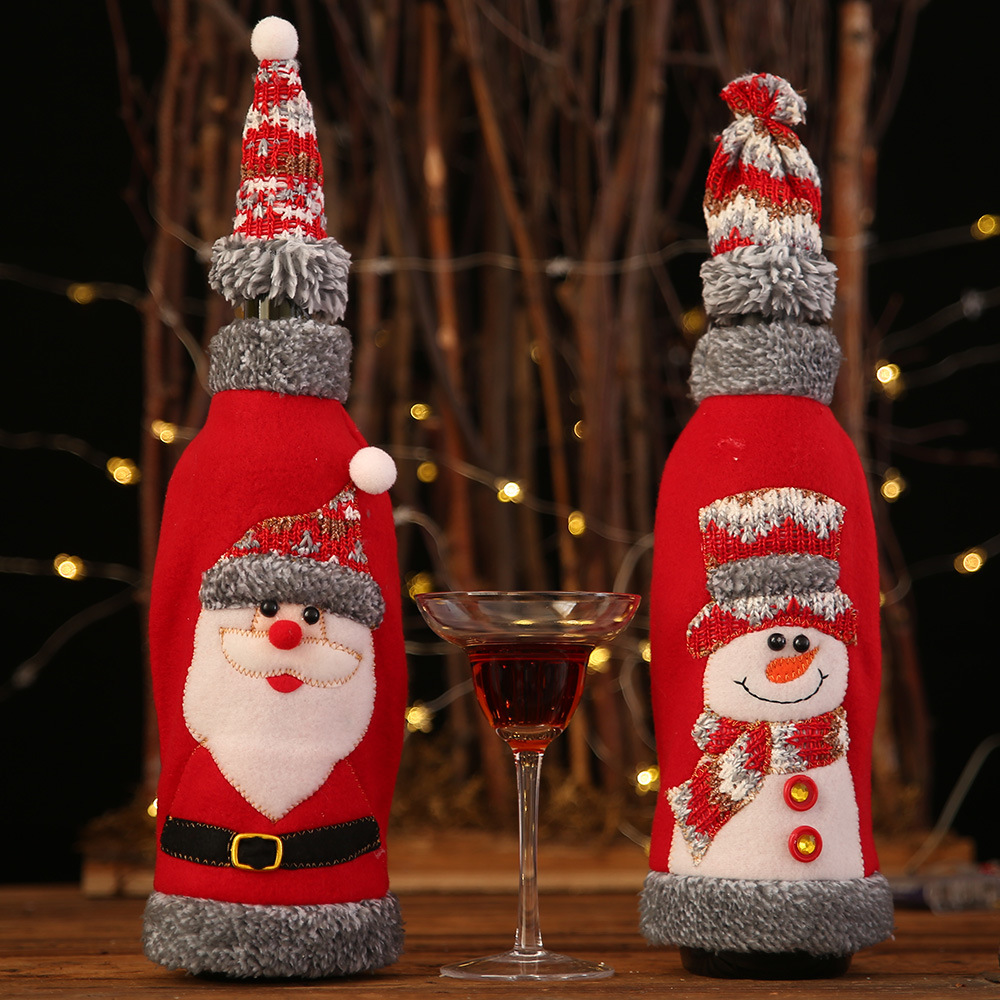 Christmas Cover Wine Bottle Santa Snowman Party Ornament Christmas Table Decoration