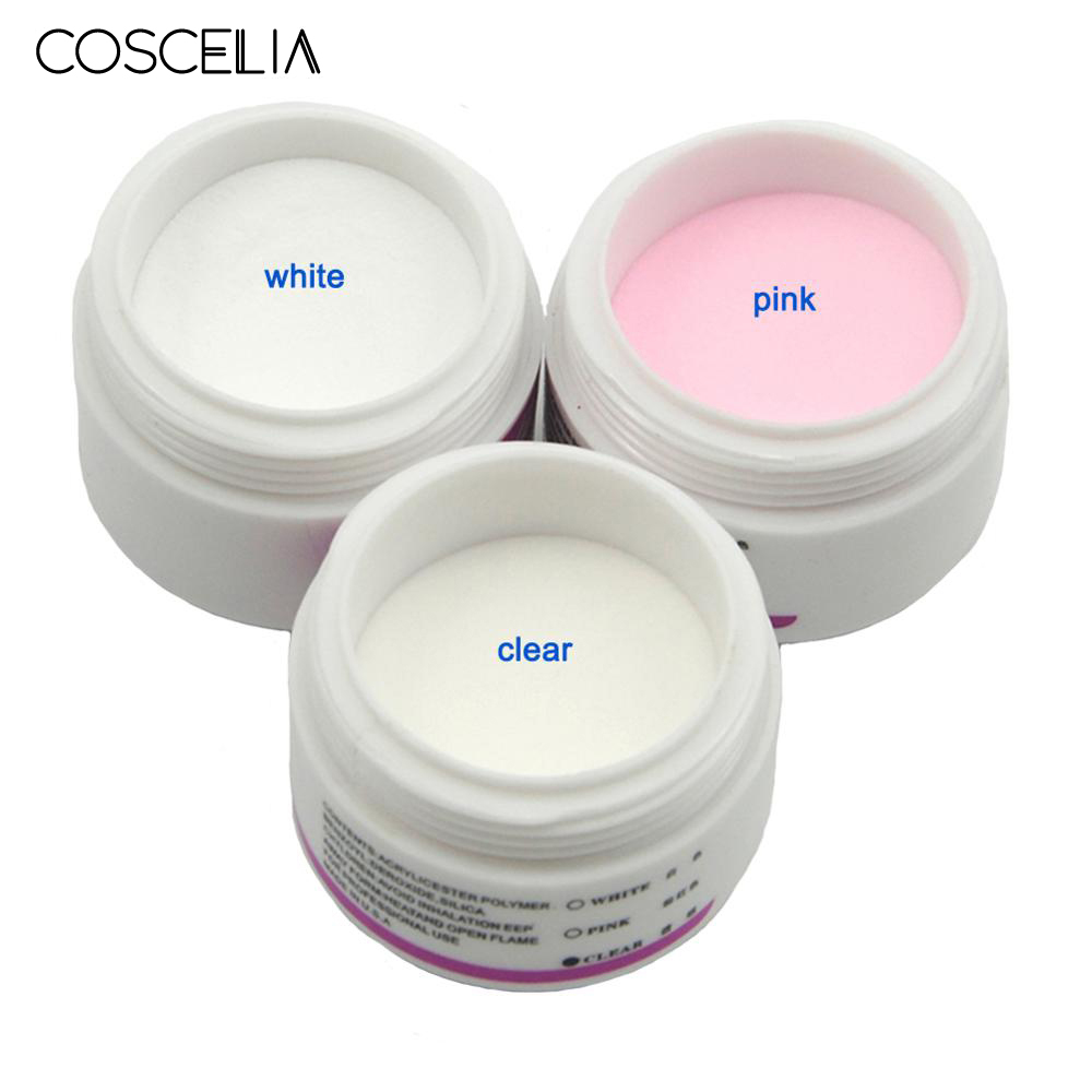 COSCELIA White Clear Pink Acrylic Powder Crystal UV Gel For Nails Nail Extension Kit Nail Art Tips Acrylic Powder For Nail Kit