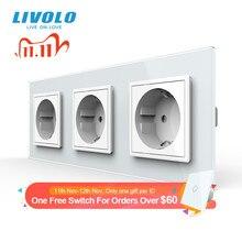 Livolo новое гнездо питания стандарта ЕС, выходная панель, тройная настенная розетка без вилки, закаленное стекло C7C3EU 11/2/3/5