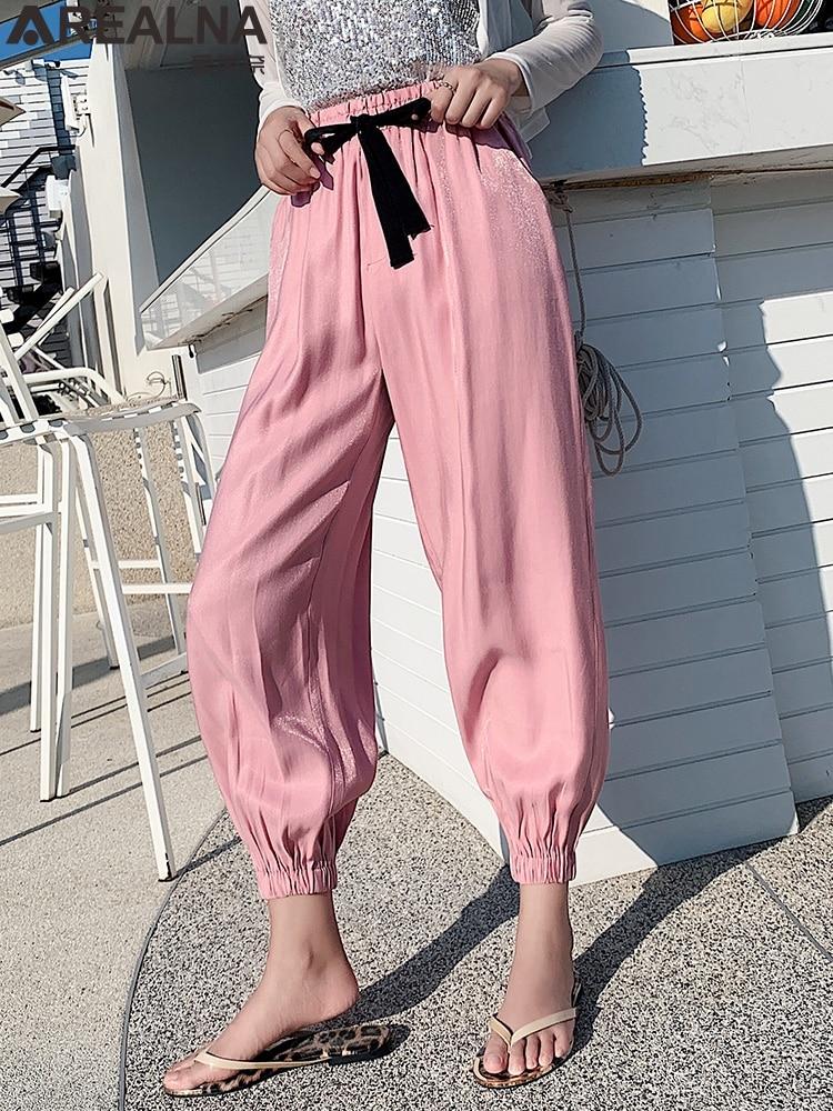 chic summer Harem   Pants   Women Loose Ankle-Length lantern   pants   female Glitter silk mosquito   Pants   Radish   pants     Wide     leg     pants