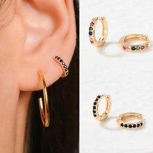 Women's Multicolor Zirconia Small Hoop Earrings Minimal Simple Huggies Thin Hoops Tiny Female Piercing Rainbow Earring For Girls