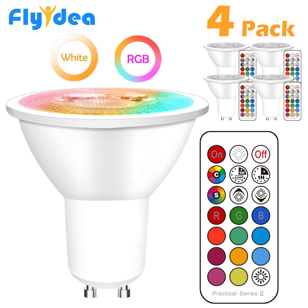Lampada LED GU10 Color Spotlight Lampada de neon interna Fita RGB com luzes controladoras Iluminacao COB 220V com foco regulavel