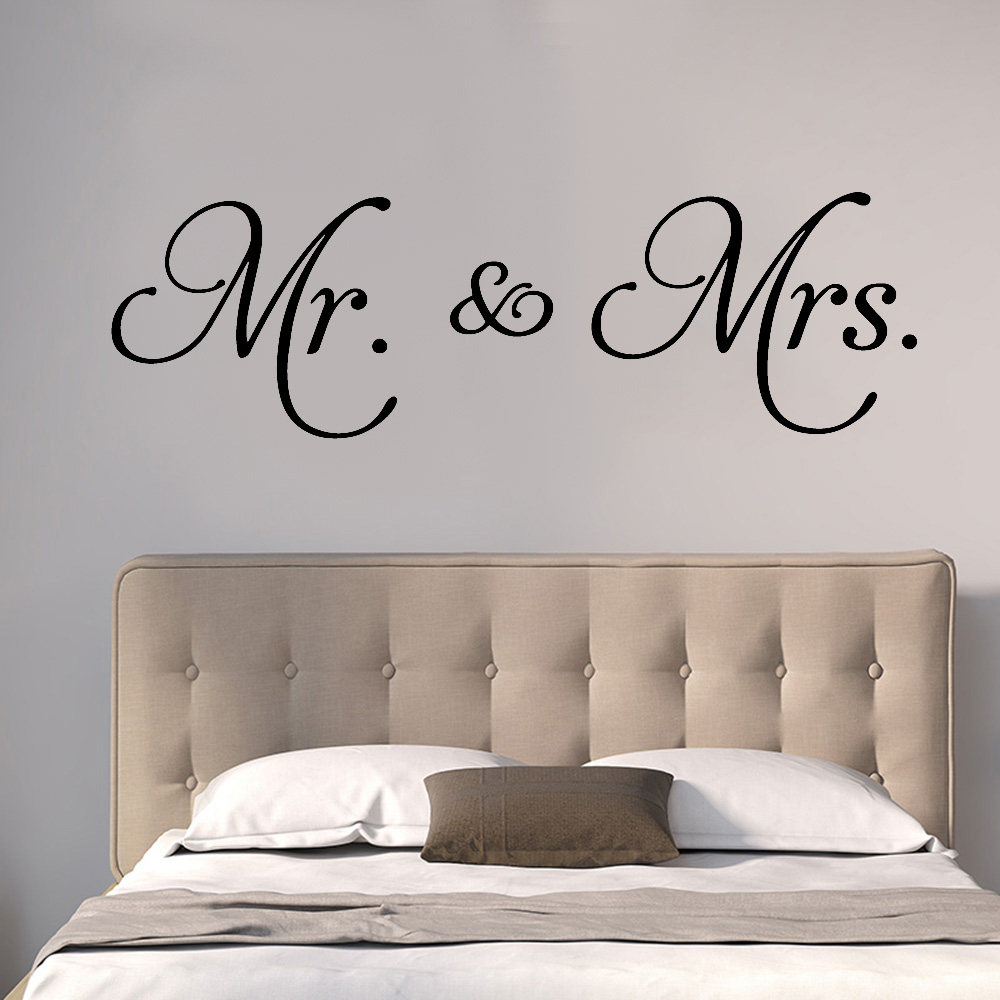 Mr Mrs Wall Decal Living Room Removable Decoration Minimalism Vinyl Bedroom Ceiling Wardrobe Wall Stickers Art Home Decor Y575