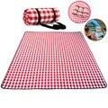 Красно-белый клетчатый складной водонепроницаемый коврик для пикника, модный утолщенный коврик, дышащий мягкий портативный плед для кемпи...
