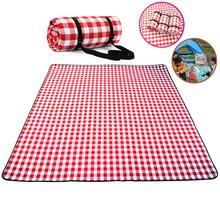 Vermelho branco xadrez ao ar livre dobrável à prova dwaterproof água esteira de piquenique moda engrossar almofada respirável macio portátil acampamento viagem praia cobertor