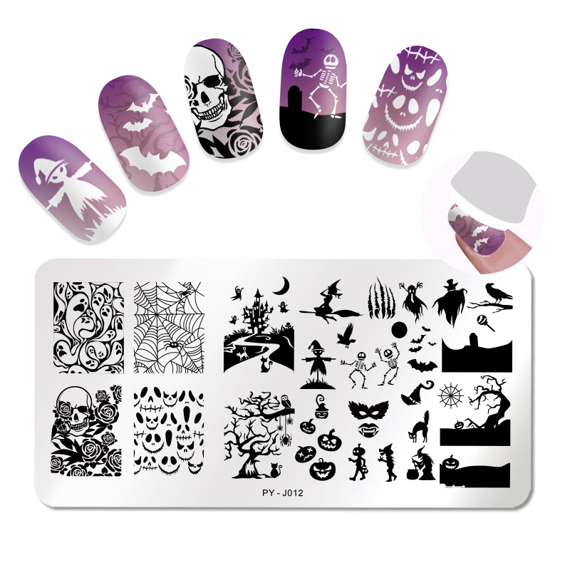 Image 2 - 1Pc PICT YOU Halloween Series Stamping Plates Nail Art Stamping Image pattern Plate Stainless Steel Stencil Accessories Tools-in Nail Art Templates from Beauty & Health