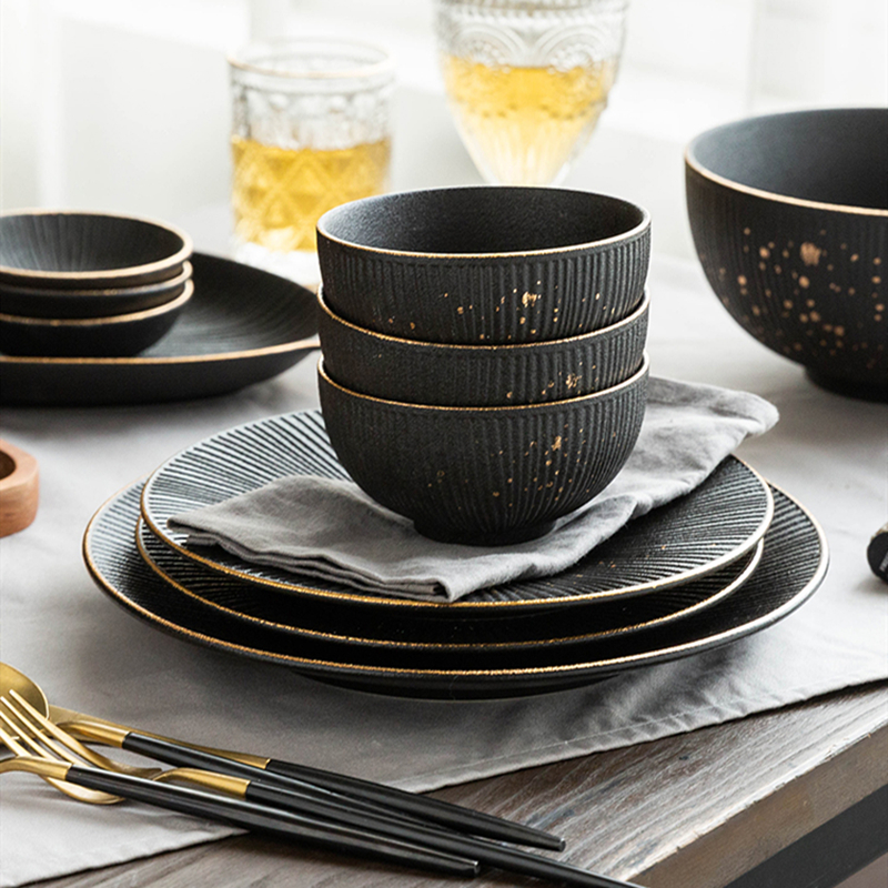 Phnom Penh Household Kitchen Tableware European Creative Steak Plate Black Ceramic Dishes Spoon  Bowl Dish Flatware Set 3
