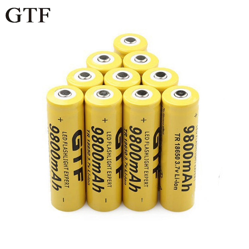 GTF 18650 Li ion Batteries 3.7mAh 9800V Rechargeable Lithium ion battery for flashlight electronic headlight toy drop shipping|Rechargeable Batteries| |  - title=