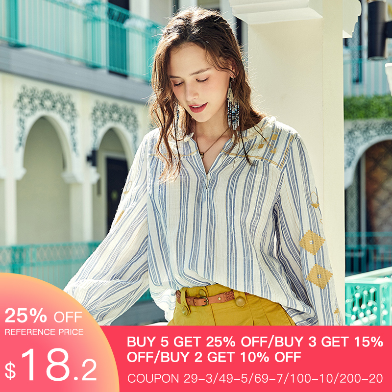 ARTKA 2020 Spring Summer New Women's Blouse Vintage Indie Folk Embroidery Blouse Lantern Sleeve V-Neck Stripe Shirt SA20709C