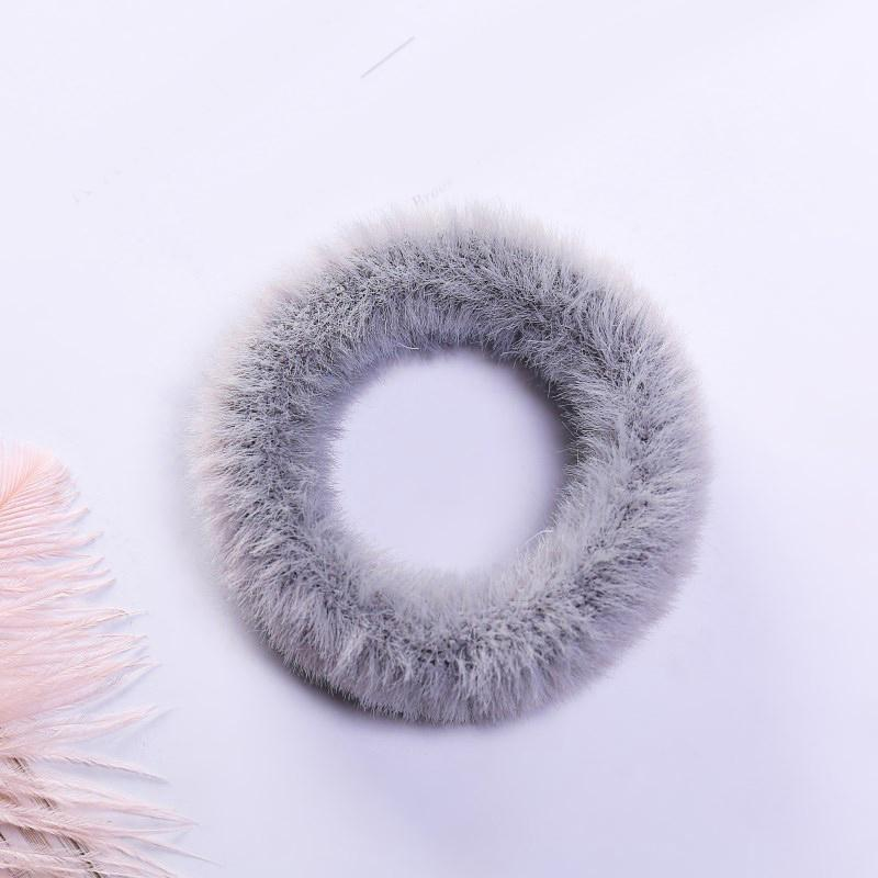 Мягкая Плюшевая повязка для волос резинки для волос натуральный мех кроличья шерсть мягкие эластичные резинки для волос для девочек однотонный цветной хвост резинки для волос для женщин - Цвет: 6