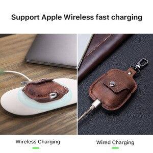 Image 5 - Hakiki deri Bluetooth kablosuz kulaklık kutusu AirPods için 2 koruyucu kapak cilt aksesuarları için Apple Airpods şarj kutusu