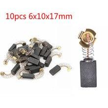 10 шт. 6x10x17 мм мини дрель электрический шлифовальный станок замена уголь щетки запасные части запчасти для электродвигателей роторный инструмент