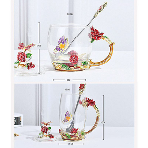 Image 5 - Red Blue Rose Enamel Crystal Tea Cup Coffee Mug Butterfly Rose Painted Flower Water Cups Clear Glass with Spoon Set Perfect Gift