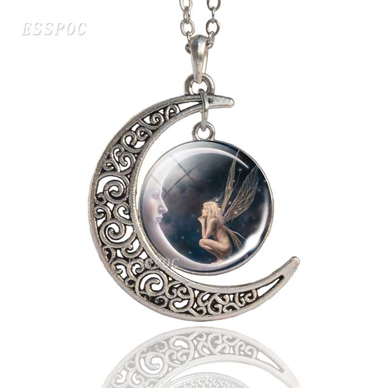 Fairy Moon on Angel Crescent Pendant Necklace Angel Wings Jewelry Fairy Moon Light Women Fashion Accessories