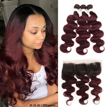 T1B/99J Ombre Human Hair Bundles With Frontal 13x4 SOKU RedWine Brazilian Body Wave Closure Non-Remy Weave - discount item  46% OFF Human Hair (For Black)