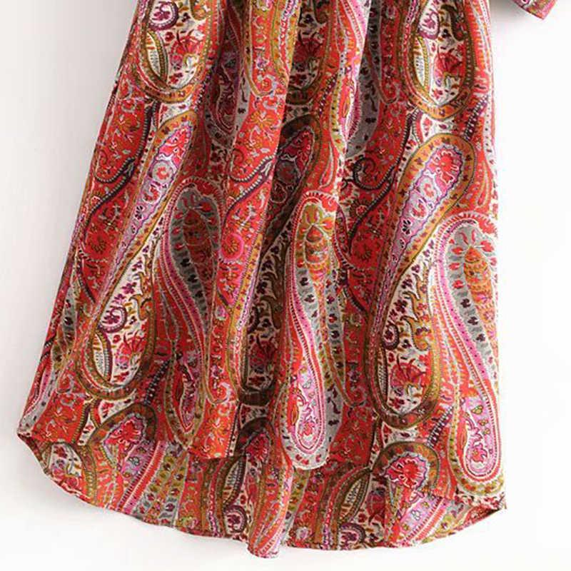 Сексуальное длинное платье с глубоким v-образным вырезом и цветочным принтом, Женские винтажные вечерние платья миди с длинным рукавом, повседневные женские платья с поясом, Vestidos