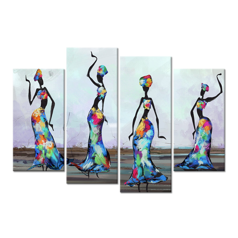 4 Panel African Canvas Wall Art Traditional African Woman Dancers Abstract Paintings on Canvas Contemporary Artwork for Bedroom