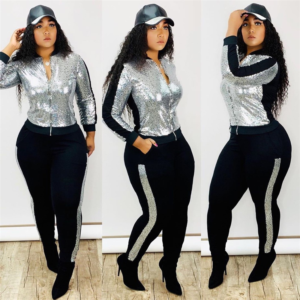 Winter Sequin 2 Piece Set Women Tracksuit Long Sleeve Jacket Top Pants Suit Streetwear Sparkly Matching Sets Club Outfits