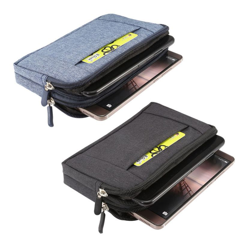 Waist Bag Horizontal Dual Zippers Portable Anti-scratch Storage Case Pouch For Double Phones