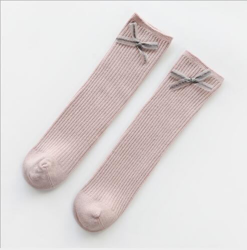 1-8Y 2021 New children's socks double needle bowknot girls socks boneless loose mouth combed cotton baby tube socks 6