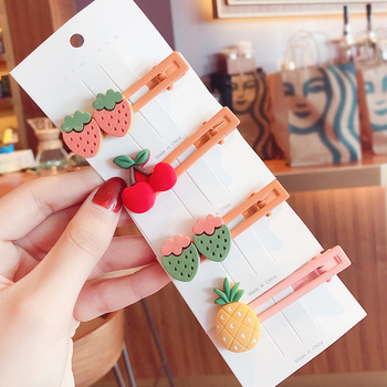 2020 New Girls Cute Candy Acrylic Fresh Fruit Ornament Hair Clips Children Lovely Barrettes Hairpins Kids Sweet Accessories