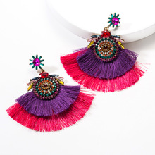 Vintage Ethnic Layers Tassel Stud Earrings Kpop Personality Set Auger Ear Accessories Women 2019 Bohemia New Fashion Jewelry