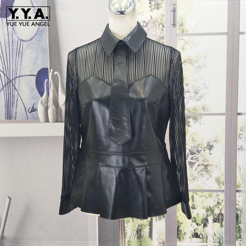 100% Genuine Leather Long Sleeve Patchwork Lace Shirts Women Office Lady Slim Black Sheepskin Blouse Spring Short Shirt M-3XL