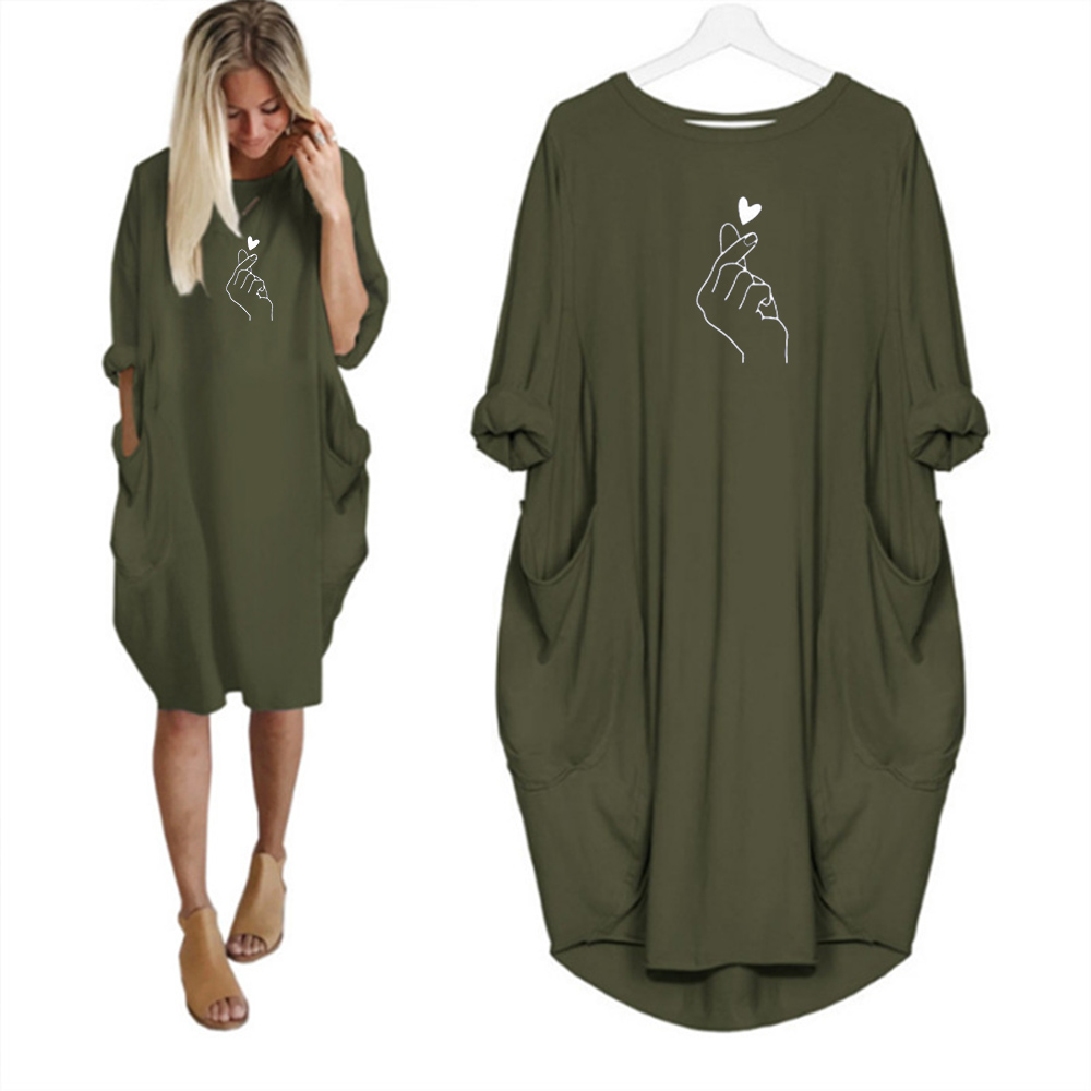 Vintage Christmas Dress Pocket Baggy Long Sleeve Dress Oversized Cartoon Deer Than Heart Printing Plus Size Loose Casual Clothes