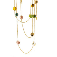 Classic Long Chain colorful crystal Necklace High Quality Copper Gold Color coat Necklace Jewelry Crystal Necklace