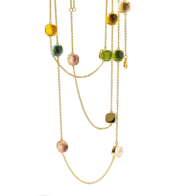 Classique longue chaîne collier en cristal coloré de haute qualité cuivre or couleur manteau collier bijoux collier en cristal