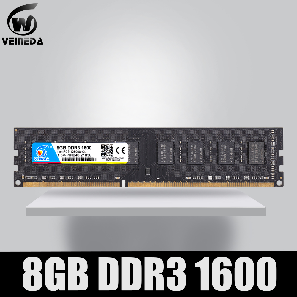VEINEDA DDR3 8GB 1333 PC3-10600 240PIN Dimm Ram Compatible 8gb ddr3 1600 PC3-12800 For AMD Intel DeskPC image