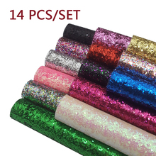 14pcs 22*30cm Faux Leather Sheets Chunky Glitter Fabric Shiny Gold Synthetic Hairbow DIY Accessories