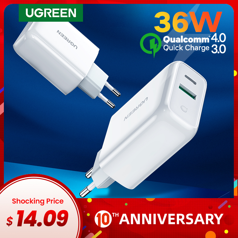 Ugreen 36W USB PD Charger Quick Charge 3.0 4.0 QC 3.0 Charger For IPhone 11 X 8 Phone Wall USB Type C Charger For Huawei Xiaomi