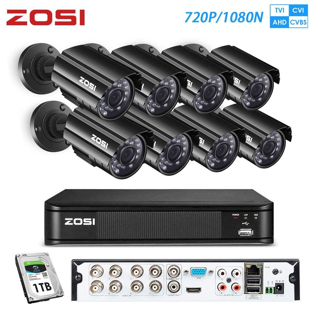 ZOSI 720P 8ch Street Camcorder AHD TVI CVI CCTV System DVR Videcam Outdoor Video Nightvision System Surveillance DVR Kit HDD