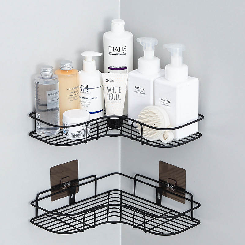 Bathroom Storage Shelves Racks Corner Rack Free Punching Kitchen Bathroom Vanity Seamless Wall Hanging Tripod Home Storage Rack